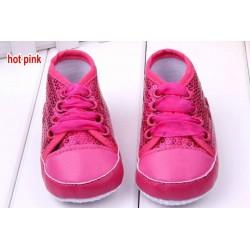 Chaussure souple basket montante bébé 0 à 12 mois, modèle strass Fuchsia