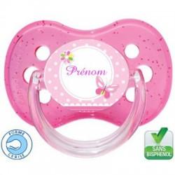 Sucette bébé Pink Butterfly à personnaliser
