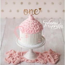 Décoration gâteau anniversaire, inscription One coeur