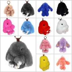 Porte clés accessoire de sac, modèle lapin doudou 15 cm au choix