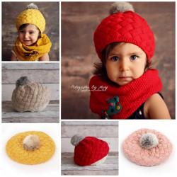 Bonnet boule et pompon couleur au choix