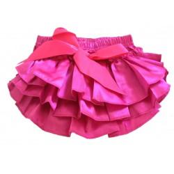 Jupe culotte bébé bloomer,cache couche,Modèle satin fushia de 0 à 3 ans