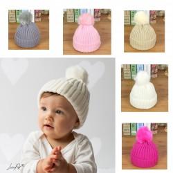 Bonnet pompon bébé en lainage 1 à 18 mois