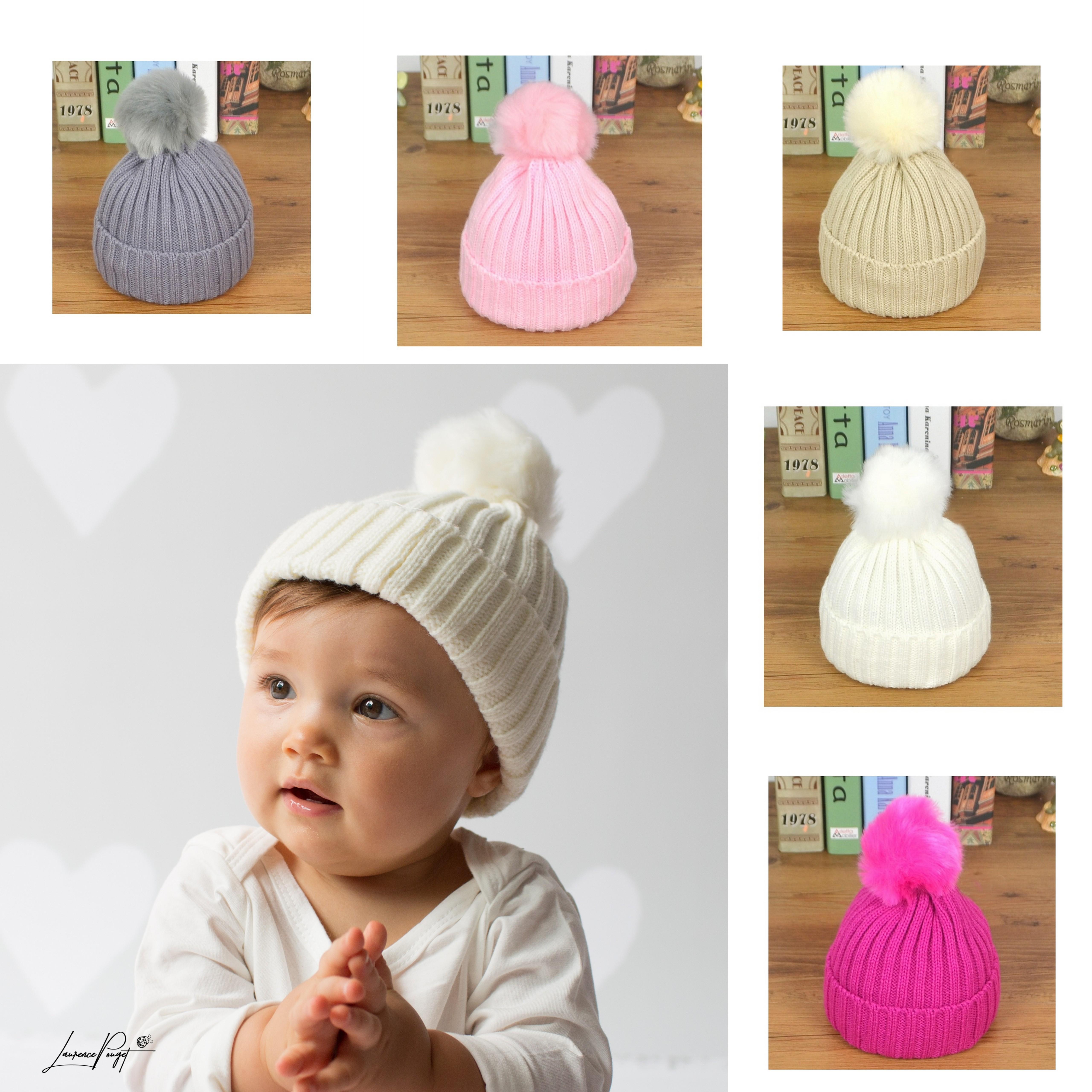 Bonnet pompon bébé en lainage 1 à 18 mois d2dddc8d64d