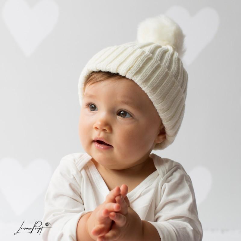 Bonnet pompon bébé en lainage 3 mois à deux ans b4271184928