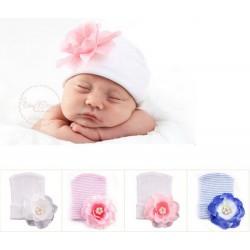 Bonnet naissance en tissu très souple parfait maternité