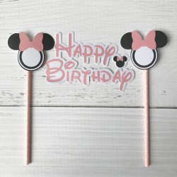 Guirlande décoration de gâteau Happy Birthday Mickey Mouse rose clair