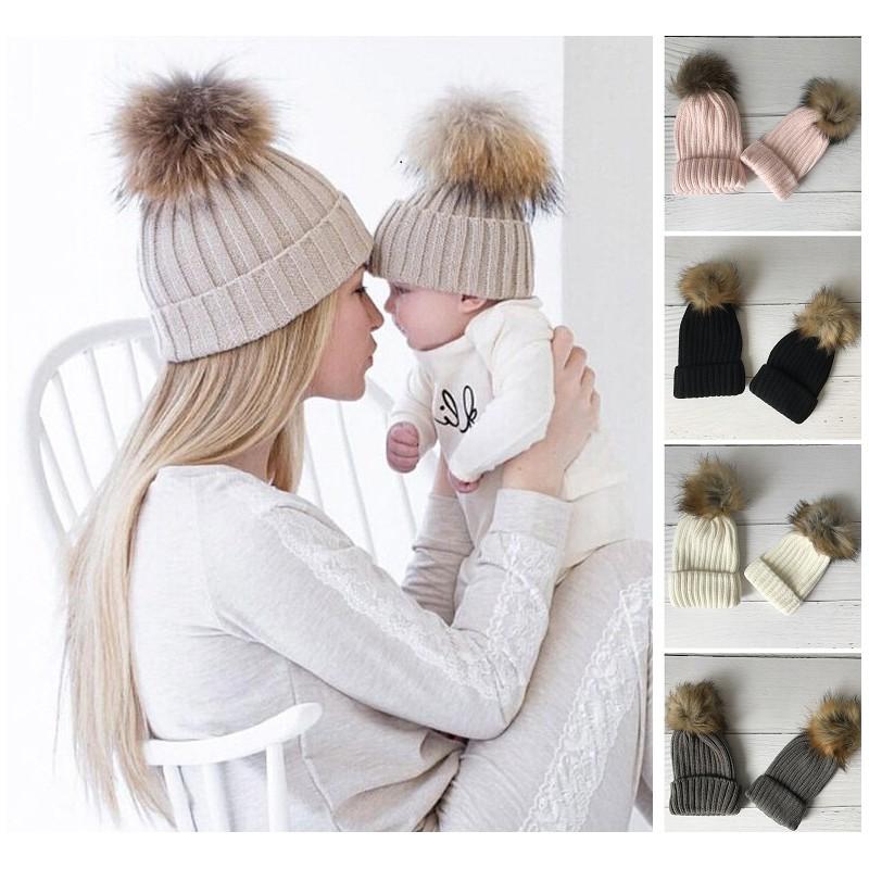 meilleur prix choisir véritable construction rationnelle Set de 2 bonnets comme maman, modèle gros pompon