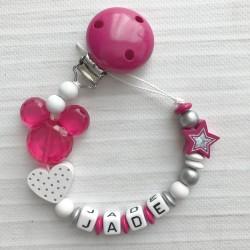 Attache sucette prénom modèle Minnie- Mickey