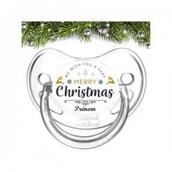 Sucette bébé Merry Christmas à personnaliser
