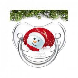 Sucette bébé Bonhomme de neige à personnaliser