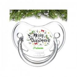 Sucette bébé Merry christmas Houx à personnaliser