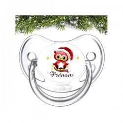 Sucette personnalisée Noël hibou