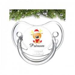 Sucette personnalisée cerf de Noël