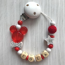 Attache sucette prénom modèle Minnie- Mickey esprit noël