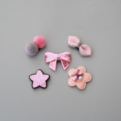 Lot 5 barrettes spéciales nouveaux nés et bébés tiennent sur un seul cheveux, modèles Pink Paradise