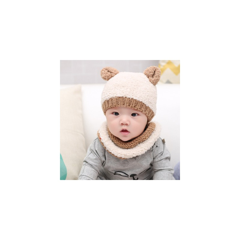 6ade1ab0610cd Ensemble bébé snood et bonnet chat, 3 à 15 mois