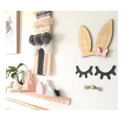 Décoration murale oreille lapin moustache argenté