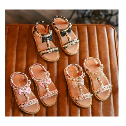 Sandalette perles et noeud taille 21 à 30