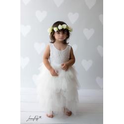 Robe haute couture Sophia et sa barrette assortie, 9 mois à 8 ans