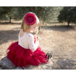 Robe Sophia manches longues rouge cerise, 6 mois à 12 ans