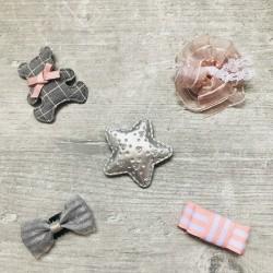 Lot 5 barrettes magiques, anti-glisse spécial cheveux bébé, modèle Ourson  vichy