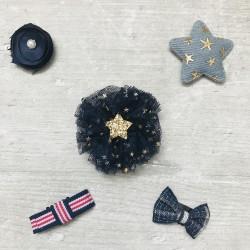Lot 5 barrettes magiques, anti-glisse spécial cheveux bébé, modèle Blue jean star