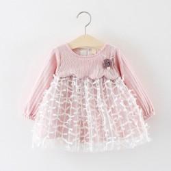 Robe bébé rose, modèle Amandine 3 mois à 2 ans