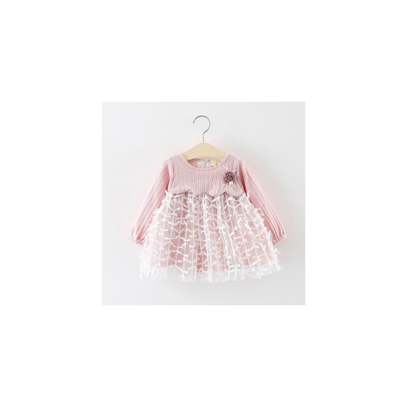 Robe bébé rose, modèle Amandine 9 mois à 3 ans