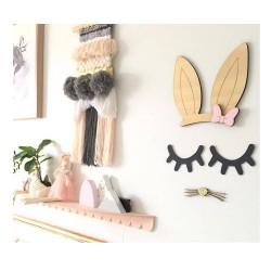 Décoration murale oreilles de lapin moustache doré