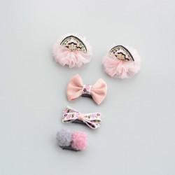 Lot 5 barrettes magiques, anti-glisse spécial cheveux bébé, modèle Miaou Miaou
