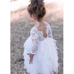Robe haute couture Sophia manches longues et sa barrette assortie, 9 mois à 13 ans