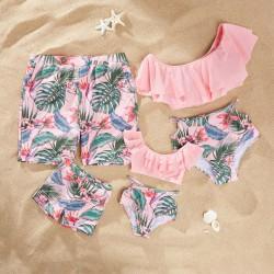 Maillot famille modèle tropique rose