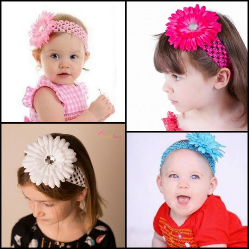 Bébé Enfants Fleurs bandeau cheveux fille strass perles bijoux de cheveux séance photos