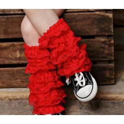 Jambières en dentelle pour bébé/fille, modèle rouge