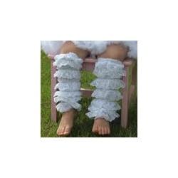 Jambières en dentelle pour bébé/fille, modèle blanc