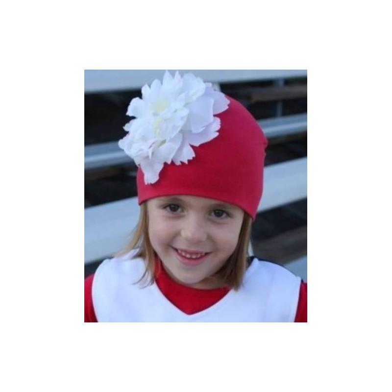 fbc87dca2e01 Bonnet rouge fleur blanche bébé enfant en coton, 1 an à 12 ans