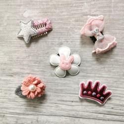 Lot de 5 Barrettes Magiques dans les tons de rose, blanc et gris