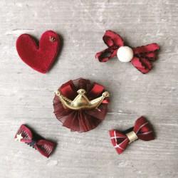 5 Barrettes magique couleur pourpre et coeur en velour