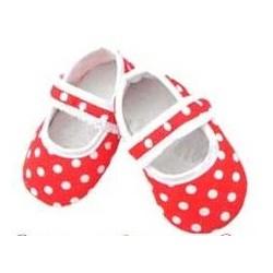 Chaussure souple bébé 0 à 12 mois, modèle Polka rouge