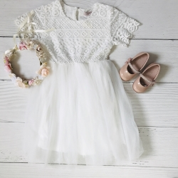 robe rosie blanche 4 à 14 ans