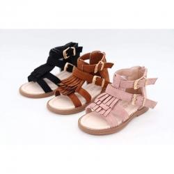 Sandales à frange, Tan...