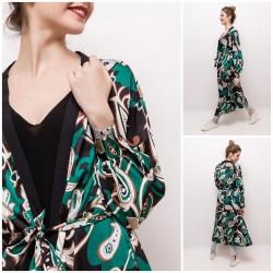 Kimono long imprimés vert...