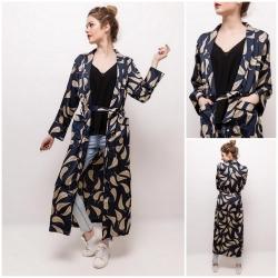 Kimono long imprimés beige...