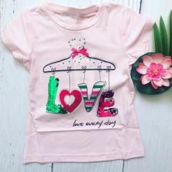 T-shirt Love rose clair, 2...