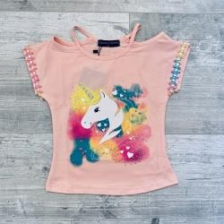 T-shirt licorne rose, 2 à...