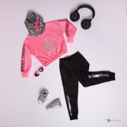 Ensemble sport girly rose fluo