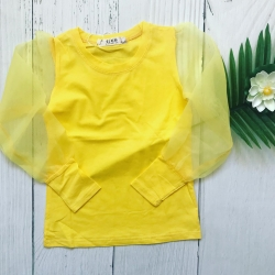 Top manches tulle jaune, 4...
