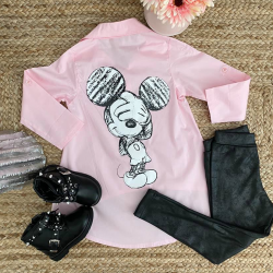 Chemise Mickey 4 à 14 ans rose