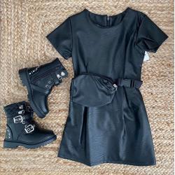 Robe simili cuir noir 4 à...